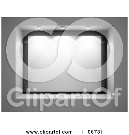 Clipart 3d Lights Over A Blank Glass Display - Royalty Free CGI Illustration by Mopic