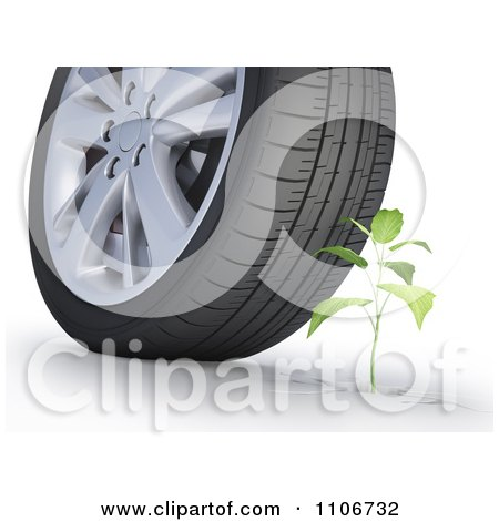 Clipart 3d Plant Under A Car Tire - Royalty Free CGI Illustration by Mopic
