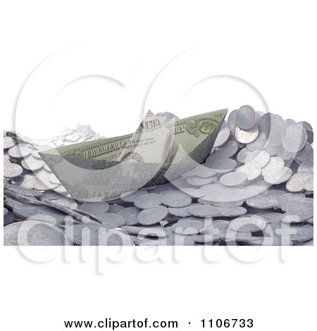 Clipart 3d Cash Boat Floating On Silver Coin Waves - Royalty Free CGI Illustration by Mopic