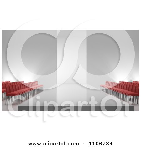 Clipart 3d Fashion Show Catwalk And Empty Seating Area - Royalty Free CGI Illustration by Mopic
