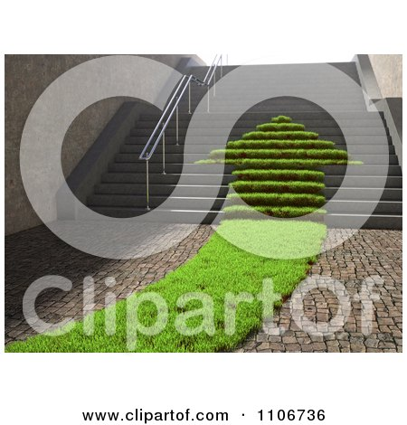 Clipart 3d Grassy Arrow Path Of Leading Up Stairs - Royalty Free CGI Illustration by Mopic
