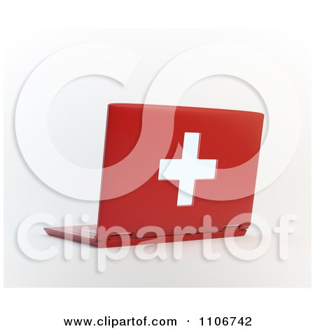 Clipart 3d Red Medical Health Care Laptop Computer - Royalty Free CGI Illustration by Mopic
