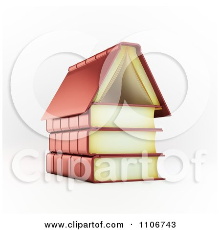 Clipart 3d Books Forming A House Foundation And Roof - Royalty Free CGI Illustration by Mopic