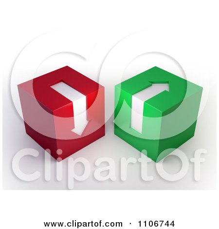 Clipart 3d Green And Red Cubes With Arrows Pointing Up And Down - Royalty Free CGI Illustration by Mopic