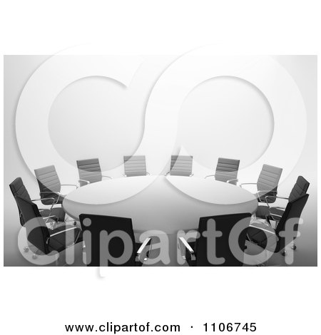 Clipart 3d Round Meeting Table With Office Chairs - Royalty Free CGI Illustration by Mopic