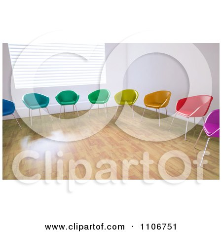 Clipart 3d Colorful Chairs In A Circle In An Empty Room - Royalty Free CGI Illustration by Mopic