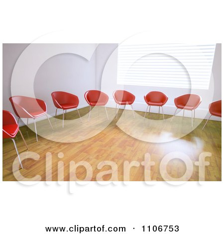 Clipart 3d Red And Orange Chairs In A Circle In An Empty Room - Royalty Free CGI Illustration by Mopic