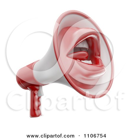 3d Megaphone With A Mouth Posters, Art Prints