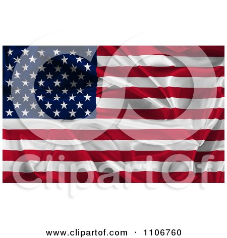 Clipart Creased 3d American Flag - Royalty Free CGI Illustration by KJ Pargeter