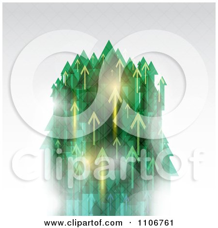 Clipart Green And Golden Arrows Shooting Upwards On Gray - Royalty Free Vector Illustration by KJ Pargeter