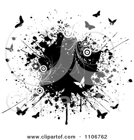 Clipart Black And White Butterflies Circles And Vines With An Ink Splatter On White - Royalty Free Vector Illustration by KJ Pargeter