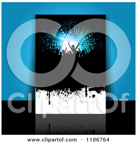 Clipart Grungy Party Flyer Leaning Against Blue Halftone - Royalty Free Vector Illustration by KJ Pargeter