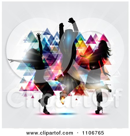 Clipart Silhouetted Dancers Grooving And Jumping Against Colorful Pyramids With Light On Gray - Royalty Free Vector Illustration by KJ Pargeter