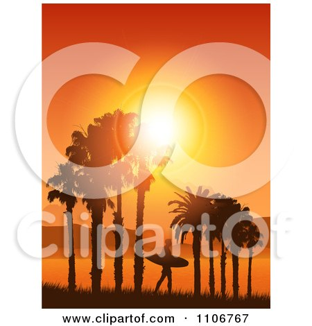Clipart Lone Silhouetted Surfer Walking Under Palm Trees Against An Orange Tropical Sunset - Royalty Free Vector Illustration by KJ Pargeter