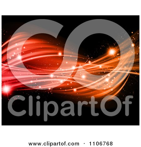 Clipart Twisting Red And Orange Light Waves With Sparkles On Black - Royalty Free CGI Illustration by KJ Pargeter