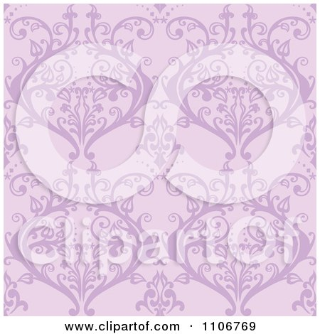 Clipart Seamless Purple Damask Background Pattern - Royalty Free Vector Illustration by Amanda Kate