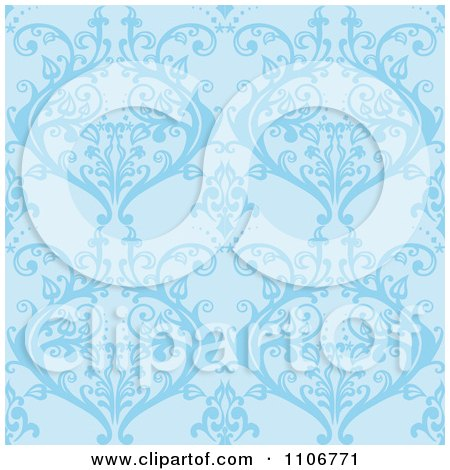 Clipart Seamless Blue Damask Background Pattern - Royalty Free Vector Illustration by Amanda Kate