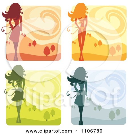 Clipart Rear Views Of A Slender Woman Shown In Four Season Landscapes - Royalty Free Vector Illustration by Amanda Kate