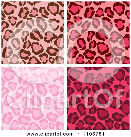 Clipart Seamless Pink Leopard Print Background Patterns - Royalty Free Vector Illustration by Amanda Kate