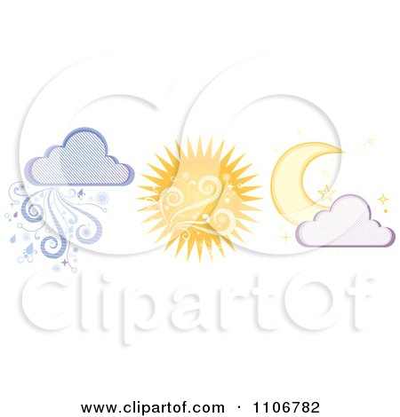 Clipart Crescent Moon Summer Sun And Rain Cloud - Royalty Free Vector Illustration by Amanda Kate