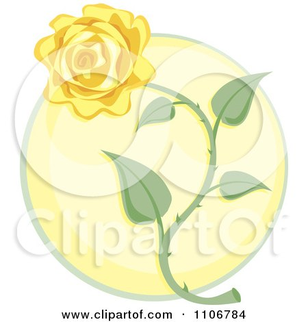Yellow Rose Over A Circle Posters, Art Prints