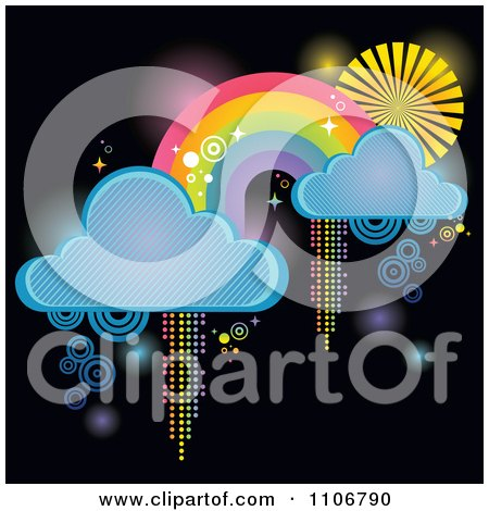 Rainbow With Clouds And Pixel Trails On Black Posters, Art Prints