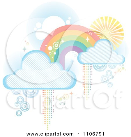 Clipart Pastel Rainbow With Clouds And Pixel Trails On White - Royalty Free Vector Illustration by Amanda Kate