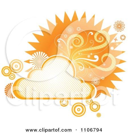 Clipart Retro Orange Cloud Circle Floral And Burst Frame - Royalty Free Vector Illustration by Amanda Kate