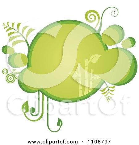 Clipart Retro Green Bubble Bamboo Frame - Royalty Free Vector Illustration by Amanda Kate