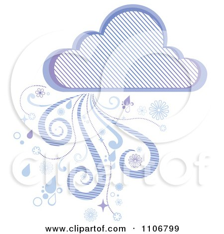 Clipart Purple Rain Cloud With Wind And Droplets And A Diagonal Line Pattern - Royalty Free Vector Illustration by Amanda Kate