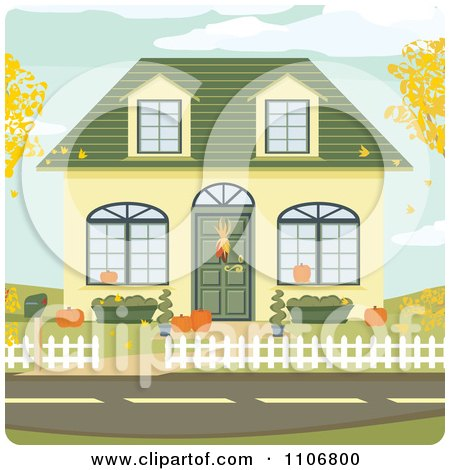 Clipart Cute Home Decorated For Autumn With Leaves Falling Into The Yard - Royalty Free Vector Illustration by Amanda Kate