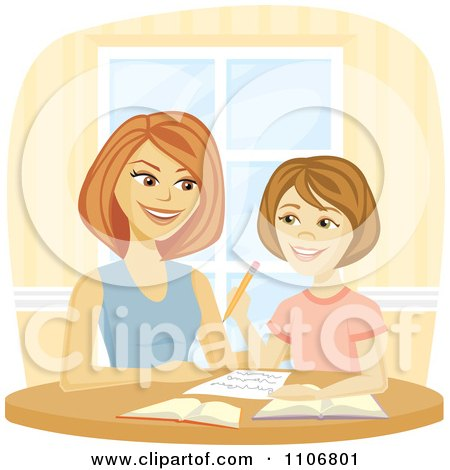 Clipart Happy Mother Homeschooling Her Daughter And Helping Her Do Homework - Royalty Free Vector Illustration by Amanda Kate