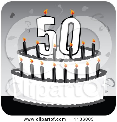 Clipart Black And White 50th Birthday Cake With Candles Confetti On A Gray Square