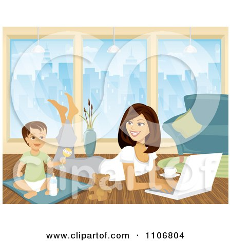 Clipart Toddler Playing By His Mom As She Works From Home On A Laptop - Royalty Free Vector Illustration by Amanda Kate