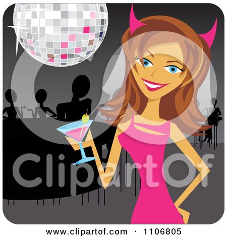 Clipart Happy Bride Celebrating At Her Bachelorette Party - Royalty Free Vector Illustration by Amanda Kate