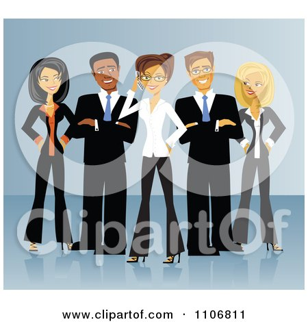 Clipart Diverse Business Team Of Men And Women Standing In V Formation Over Blue - Royalty Free Vector Illustration by Amanda Kate