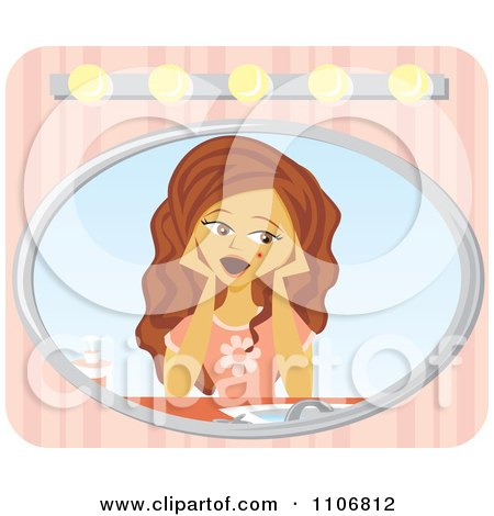 Clipart Shocked Girl Seeing A Blemish On Her Skin In The Mirror Over Pink Stripes - Royalty Free Vector Illustration by Amanda Kate