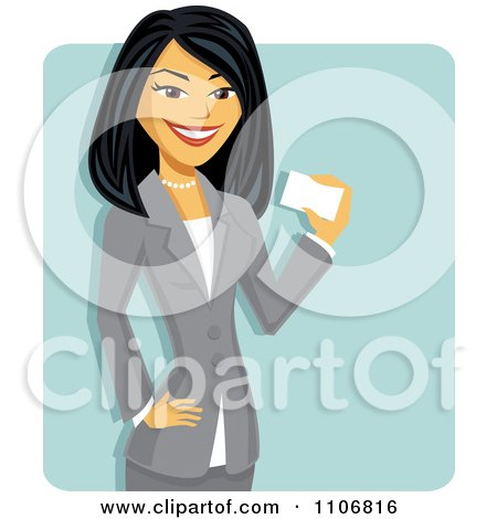 Clipart Happy Professional Asian Businesswoman Holding A Business Card Over A Blue Square - Royalty Free Vector Illustration by Amanda Kate