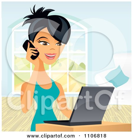 Clipart Happy Asian Business Woman Talking On A Cell Phone And Using A Laptop Computer - Royalty Free Vector Illustration by Amanda Kate
