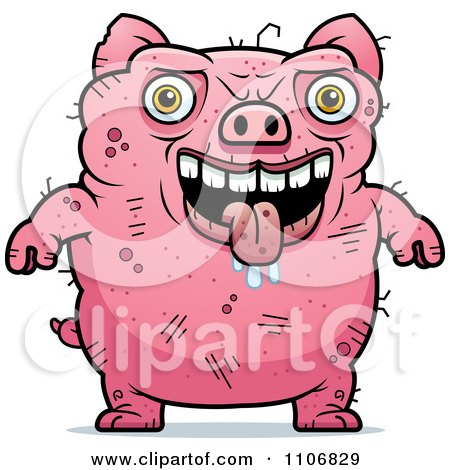 Clipart Ugly Pig - Royalty Free Vector Illustration by Cory Thoman