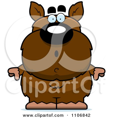 Clipart Surprised Pudgy Werewolf - Royalty Free Vector Illustration by Cory Thoman