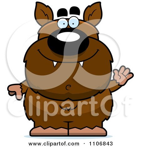 Clipart Waving Pudgy Werewolf - Royalty Free Vector Illustration by Cory Thoman