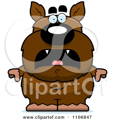 Clipart Scared Pudgy Werewolf - Royalty Free Vector Illustration by Cory Thoman