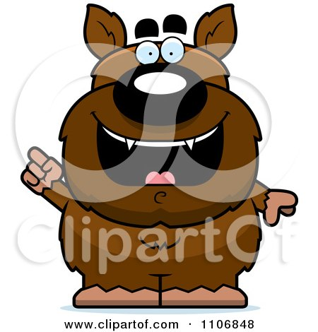 Clipart Pudgy Werewolf With An IDea - Royalty Free Vector Illustration by Cory Thoman