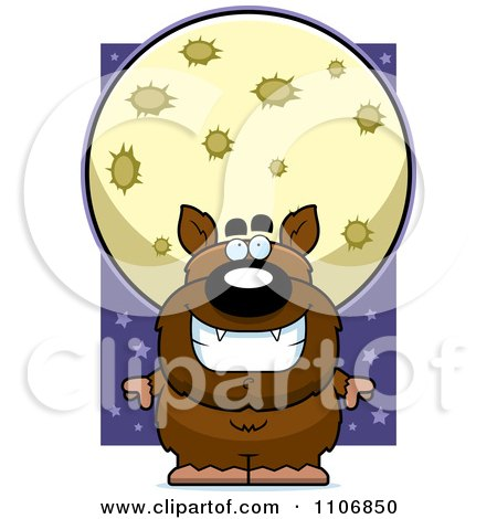 Clipart Pudgy Werewolf Under A Full Moon - Royalty Free Vector Illustration by Cory Thoman