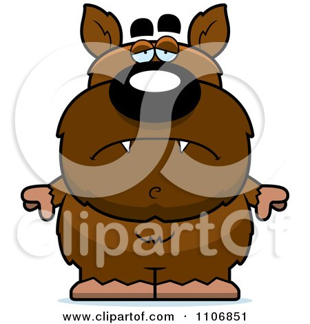 Clipart Depressed Pudgy Werewolf - Royalty Free Vector Illustration by Cory Thoman