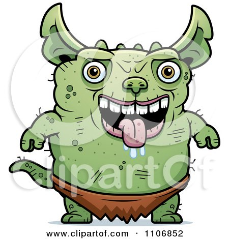 Clipart Pudgy Green Gremlin - Royalty Free Vector Illustration by Cory Thoman