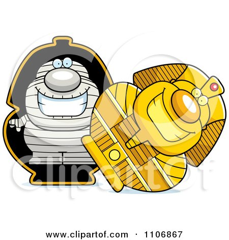 Clipart Pudgy Mummy In A Sarcophagus - Royalty Free Vector Illustration by Cory Thoman