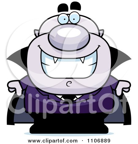 Clipart Happy Pudgy Purple Vampire - Royalty Free Vector Illustration by Cory Thoman