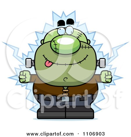 Clipart Pudgy Frankenstein Getting Shocked - Royalty Free Vector Illustration by Cory Thoman